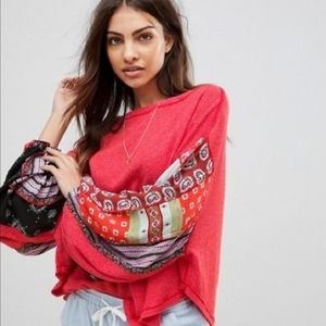 Free People Red Blossom Boho Thermal Sweater